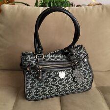 Izod Signature Expandable Black Gray Shoulder Handbag Purse