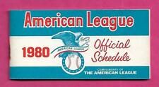 1980 AMERICAN LEAGUE OFFICIAL SCHEDULE   (INV# A9067)