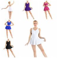 Womens Adult Sleeveless V-neck Ballet Leotard Dance Bodysuit Dress Gymnastics