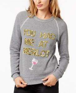 Bow & Drape You Had Me At Merlot Sequined Graphic Sweatshirt Grey Small 7F51-HME