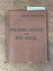 WW2 British Militaria Army Book 64 Soldier's Service & Pay Book - Medals