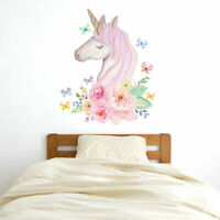 Watercolour unicorn head wall sticker | Girls room décor | Wall decals