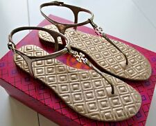 NIB Authentic TORY BURCH Marion Quilted Sandal in Mica Mirror Metallic Sz 8 $225