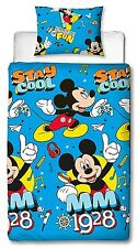 SINGLE BED DUVET COVER SET DISNEY MICKEY MOUSE COOL BLUE RETRO YELLOW RED KIDS