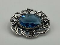 Beautiful Vintage Arts & Crafts Style Hallmarked Solid Silver Blue Stone Brooch