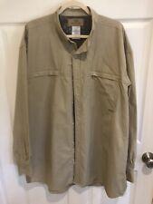 Mossy Oak Men's L/S Shirt Size 2X Tan Zip Pockets Mesh Shoulders Caped Back