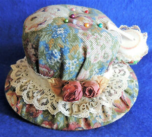 Vintage Cloth Sun Bonnet Pin Cushion Embellished w/ Lace, Roses & LOVE Handmade