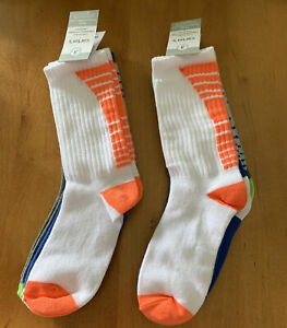 Carter's 3-Pack Crew Boys Socks Blue, Green, Grey, Orange Size 8 & Up Lot Of 2