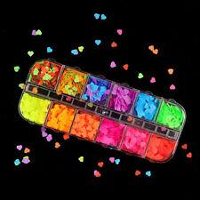 3D Fluorescent Heart Nail Art Sequins Laser Holographic Flakes Glitter 12 Colors