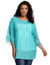Johnny Was Womens Meesha Blouse Top Shirt Size 1X Plus Knit Teal Blue Tunic Aqua