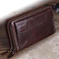 Mens Long Genuine Leather Wallet Double Zipper Phone Purse Clutch ID Card Holder