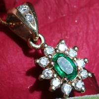 14k yellow gold halo pendant 0.50ct Colombian emerald diamond vintage 1.4g N2605