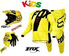 NEW Fox Youth helmet pants jersey gloves COMBO #24 YM Yellow Kids dirt bike BMX