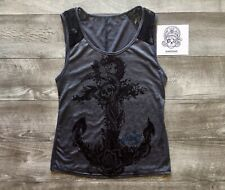Sullen Angel Nature Anchor Tank Top Small Gray & Lace MSRP $43.99