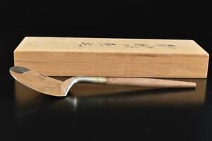 #3189: XF Japan Silver ASH SCOOP Haisaji, tea utensils Sencha Ryoro w/signed box