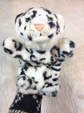 "K&M International White Tiger Plush Hand Puppet 10"" White Black Lined"