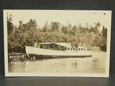 Vintage Betty B Boat on Tahquamenon River Newberry MI RPPC Real Photo Postcard