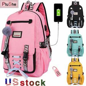 Women Canvas Backpack Girls School Bag Waterproof Anti Theft USB Bookbag Lock US