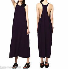 Sexy Summer Solid Casual Party Club Racer Tank Back Loose Long Dress BLACK Small