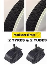 2 x Black / White Wall BMX 20 x 1.95 Tyres & 2 x Tubes SV - Free Delivery
