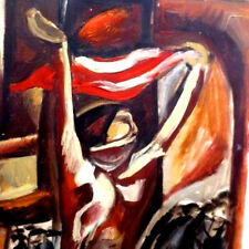 1962 SOVIET Caucasian Woman RED FLAG Socialist Realism RUSSIAN Painting ARMENIAN