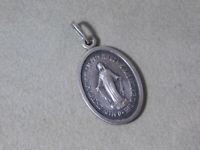 Vtg  Sterling Silver Miraculous Mary Medal Pendant Catholic Religious 2i 62