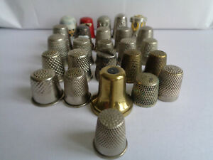 Collection of 26 Brass, Silver, Pewter, Silver Plate & Silver Tone Thimbles