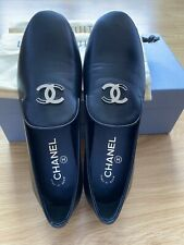 NWOB CHANEL Loafer Leather Black Women Shoes Sz 37.5- US 7
