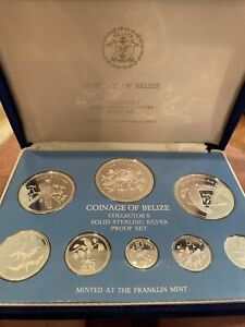 1976 Coinage of Belize silver proof set - COA W/ Box. Stunning Group Of 8 Coins!