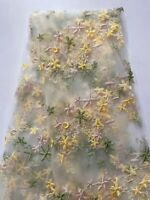 Lace Fabric Delicate Yellow Star Floral Embroidery Lace Mesh Fabric By the Yard