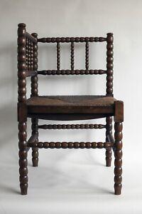 Antique Corner Bobbin Chair Rush Seat Victorian