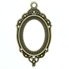 20 Pendentifs/Supports de camée Ovale Motif Bronze 4.3x2.4cm K02567