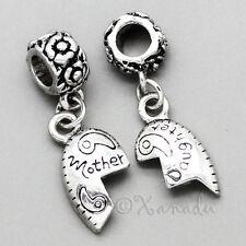 Mother Daughter Heart Halves Charm Bead Set For European Charm Bracelet Chains