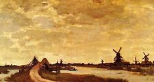 Hand painted art Oil painting Claude Monet Windmills at Haaldersbroek, Zaandam