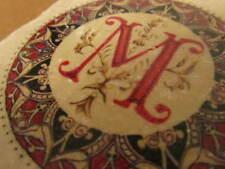 "Set of 4 Personalized ""M"" Botticino Marble Coasters W/ Cork Backing High Cotton"