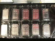 TEN Johnson Matthey .999 PURE SILVER 1 OZ #ed Bars COMPANY SEALED (10) LOT