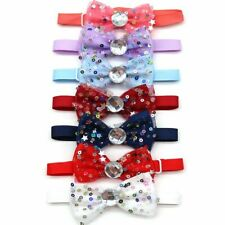 60pcs Pet Bowtie Dog Lace Rhinestone Neckties Small Dogs Grooming Accessories
