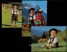 AUSTRIA, Austrian Children in Native Folk Dress, 3 Vintage Postcards, c1960s