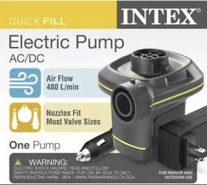 INTEX Quick Fill Electric AC/DC Air Pump 120V/12V Inflates & Deflates + Nozzles