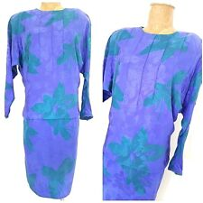 Vintage 80s Floral Party Silk Dress Size Medium Batwing Cocktail Flora Kung