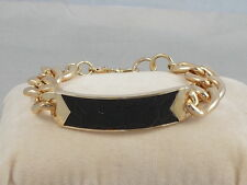 Guess Goldtone AFTER DARK Curb Link Chain Black Faux Leather Inlay ID Bracelet