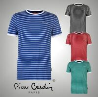 Mens Pierre Cardin Short Sleeves Striped Ringer T Shirt Top Sizes from S to XXL