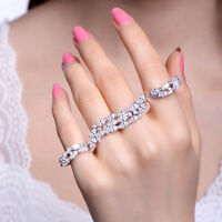 18k White Gold made w Swarovski Crystal Marquise Stone Four Finger Ring Gorgeous