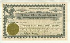 1917 NATIONAL GLASS CASKET COMPANY COLORADO STOCK CERTIFICATE