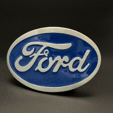 Mustang Ford Belt Buckle Silver Brushed Color Ford Racing American Blue Satin