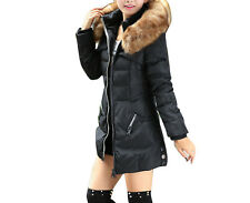 Women Winter long Cotton Padded Coat Parka Down Jacket Fur Collar Hooded outwear