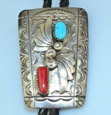 VINTAGE SIGNED SOUTHWESTERN STERLING SILVER TURQUOISE & CORAL BOLO TIE WITH TIPS