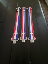 Bullard hard hat suspension one set of 3 red, white and blue straps and clips .