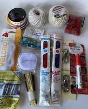 Lot Of Craft Supplies Zippers, Velcro, String, Swivel Hooks, Ribbon, Pom Pom