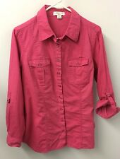 Coldwater Creek L Boho Pink Linen 3/4 Roll Tab Sleeve Top Blouse Euc